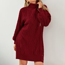 Plus Cable Knit Ripped Sweater Dress