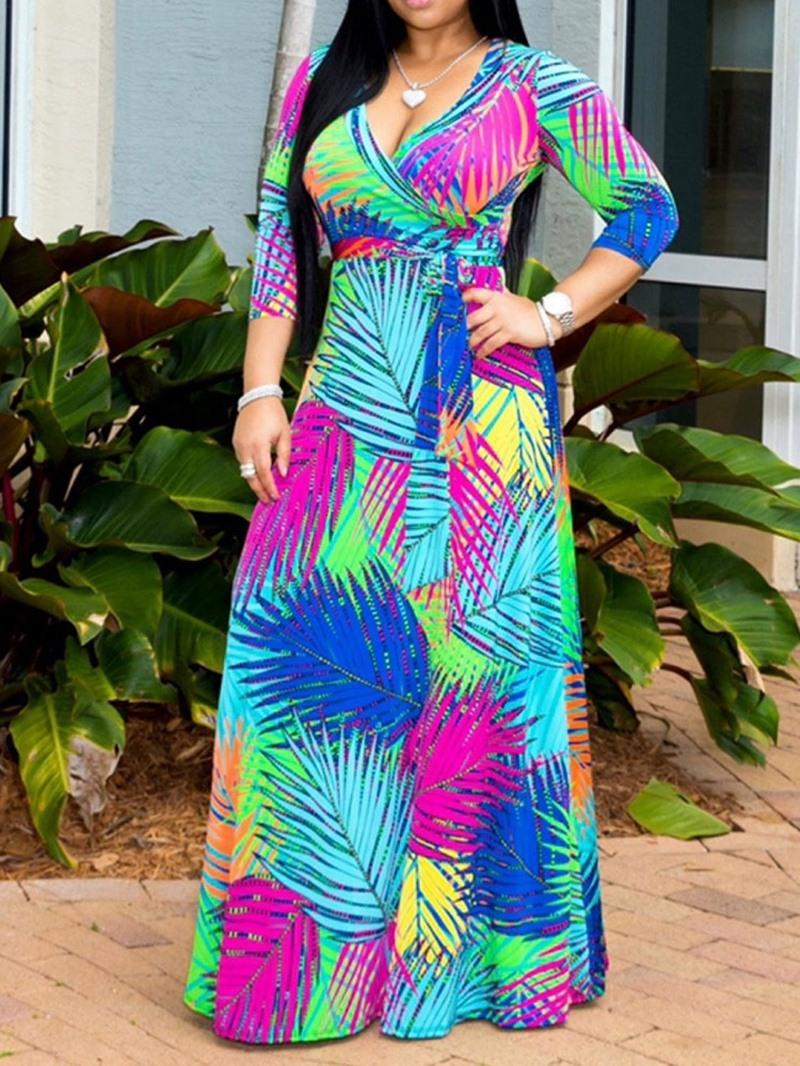 Ericdress Print A-Line Ankle-Length High Waist Regular Dress