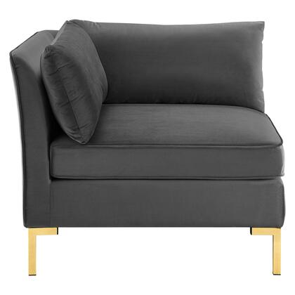 Ardent Collection EEI-3985-GRY Sectional Sofa Corner Chair with Sinuous Spring Support System  Gold Metal Legs  Non-Marking Foot Caps and