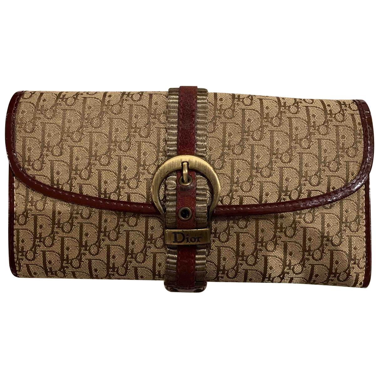 Dior - Portefeuille   pour femme en toile - beige