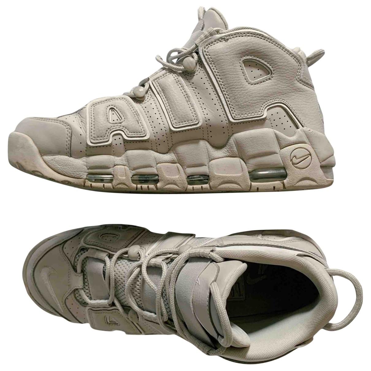 Nike Air More Uptempo Sneakers in  Ecru Leinen