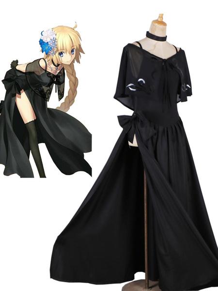 Milanoo Fate Grand Order Cosplay Joan Of Arc Black Evening Dress Uniform Cloth Anime Cosplay Costume