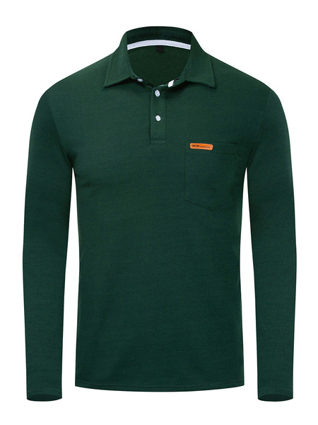 Milanoo Camiseta para hombre Cuello vuelto Mangas largas Polos grises de ajuste regular