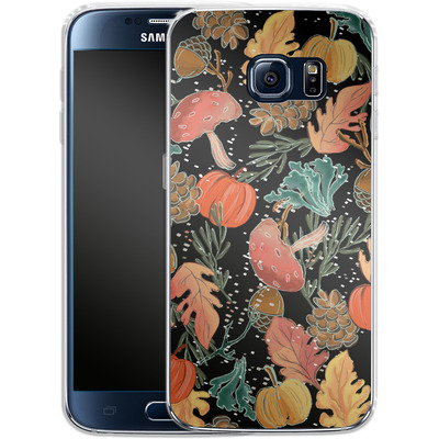 Samsung Galaxy S6 Silikon Handyhuelle - Fall Woodland Black von Mukta Lata Barua