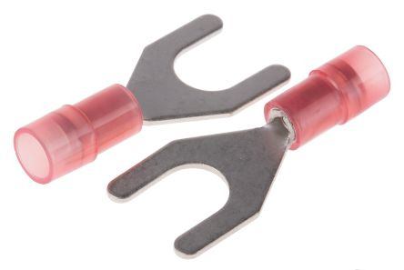 RS PRO Insulated Crimp Spade Connector, 0.5mm² to 1.5mm², 22AWG to 16AWG, M6 (1/4) Stud Size Nylon, Red (100)