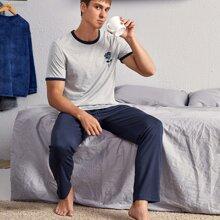 Conjunto de pijama ribete en contraste con estampado de rosa