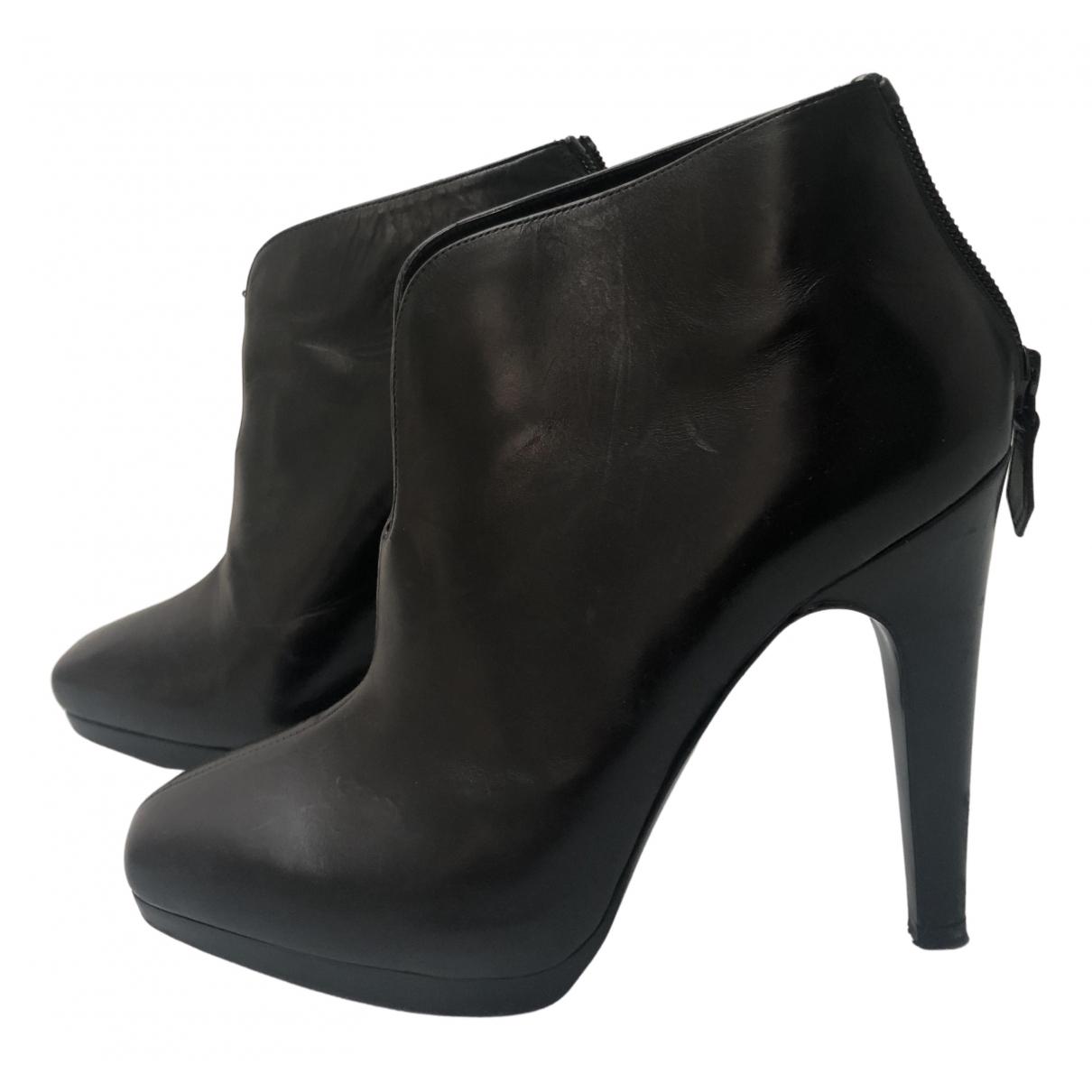 Hermes - Boots   pour femme en cuir - noir