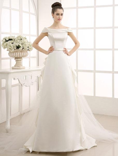 Milanoo Vestido de novia con escote de hombros caidos y volante fruncido
