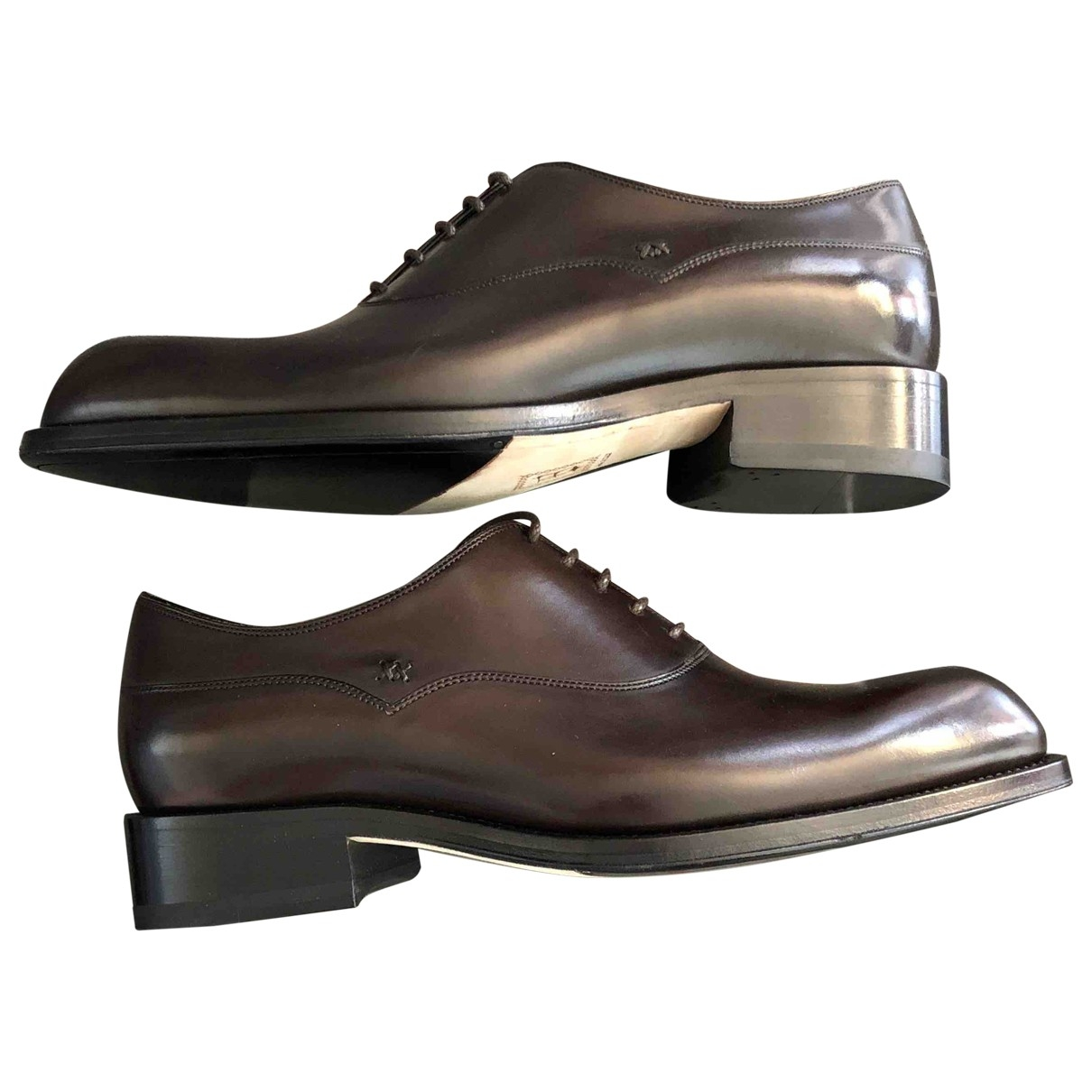 Brioni \N Anthracite Leather Lace ups for Men 6 UK