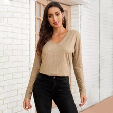 Solid Batwing Sleeve V-Neck Tee