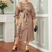 Plus Drop Shoulder Buttoned Belted Floral Dress