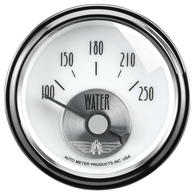AutoMeter GAUGE; WATER TEMP; 2 1/16in.; 250deg.F; ELEC; PRESTIGE PEARL