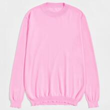 Einfarbiger gerippter Strick Pullover