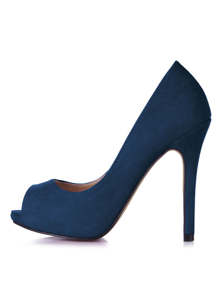 Milanoo Women High Heels Rose Peep Toe Slip On Pumps Dress Shoes