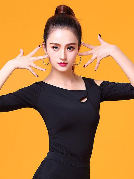 Milanoo Ballroom Dance Costume Black Top Half Sleeve Cold Shoulder T Shirt Training Dancing Clothes