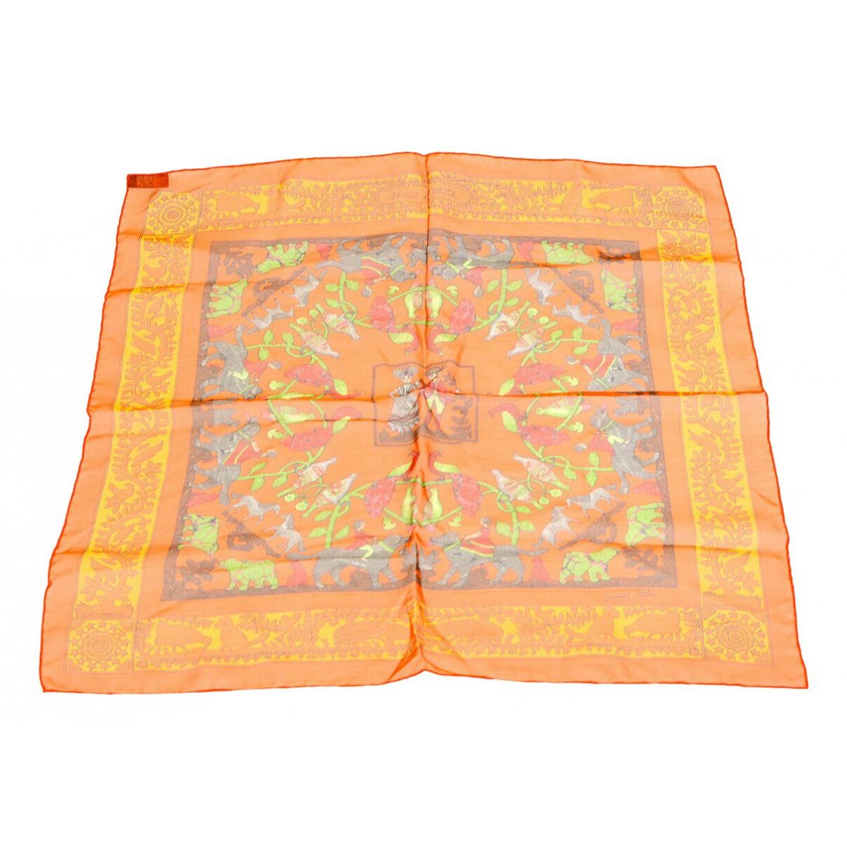 Hermes - Carre Carre 90 pour femme en soie - orange