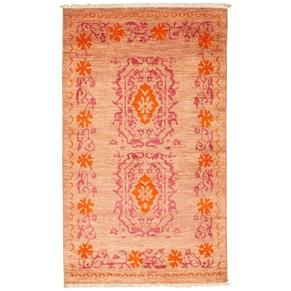 ECARPETGALLERY  Hand-knotted Pak Finest Transitional Tan Wool Rug - 3'0 x 5'2 (3'0 x 5'2 - Tan)