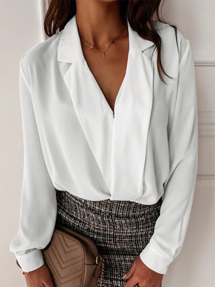 Casual V-neck Long Sleeve Work Plus Size Shirt
