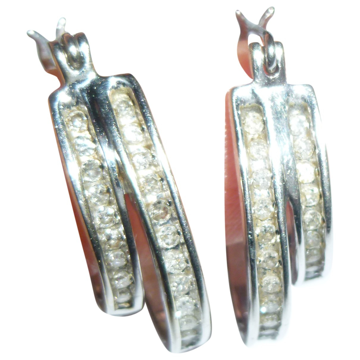 Non Signe / Unsigned Creoles OhrRing in  Silber Weissgold
