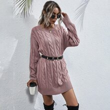 Cable Knit Drop Shoulder Sweater Dress Without Belt