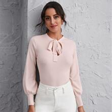 Tie Neck Lantern Sleeve Sweater