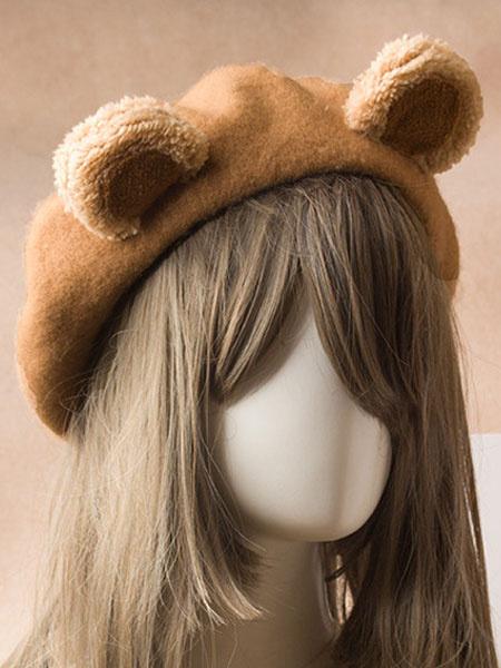 Milanoo Sweet Lolita Beret Cute Bear Ear Wool Lolita Hat