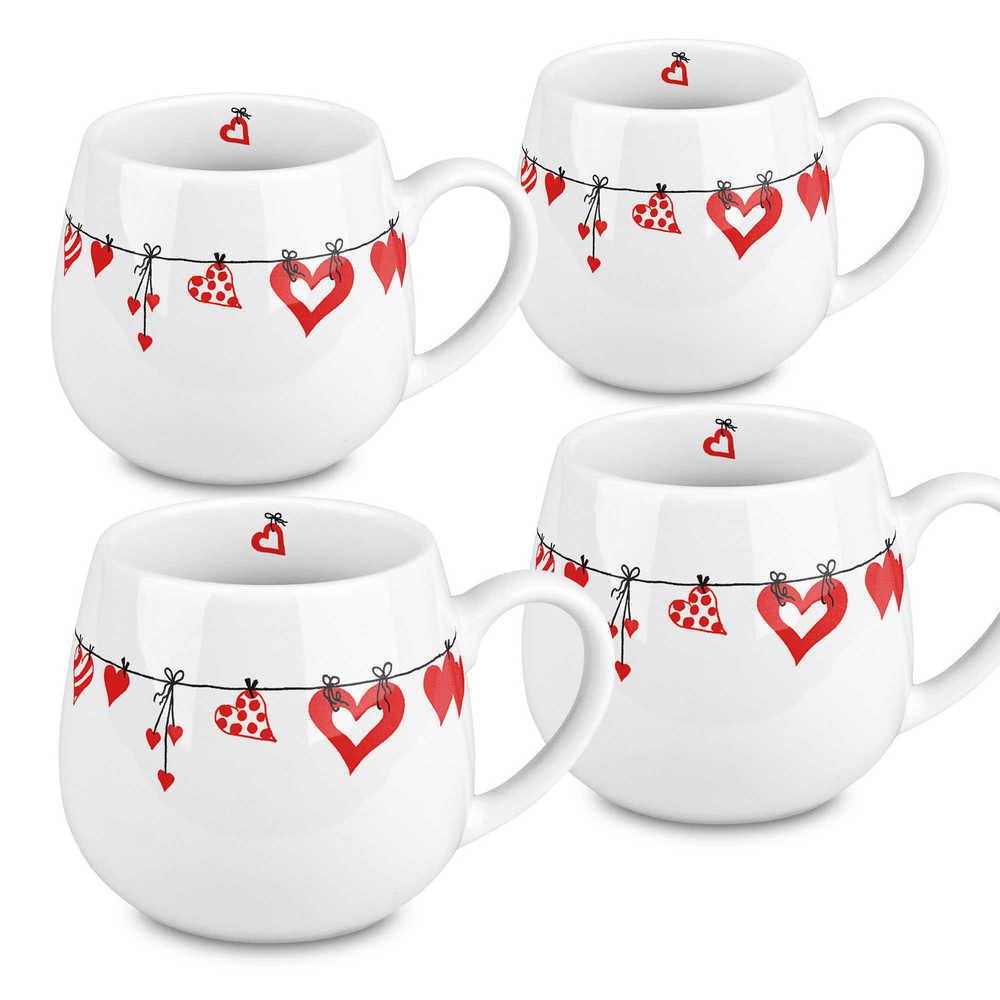 Konitz Set of 4 Hearts Clothes Snuggle Mugs (Hearts Clothes)