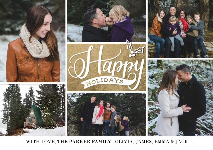 Holiday Photo Cards Flat Matte Photo Paper Cards with Envelopes, 5x7, Card & Stationery -Holiday Gold Holly Script