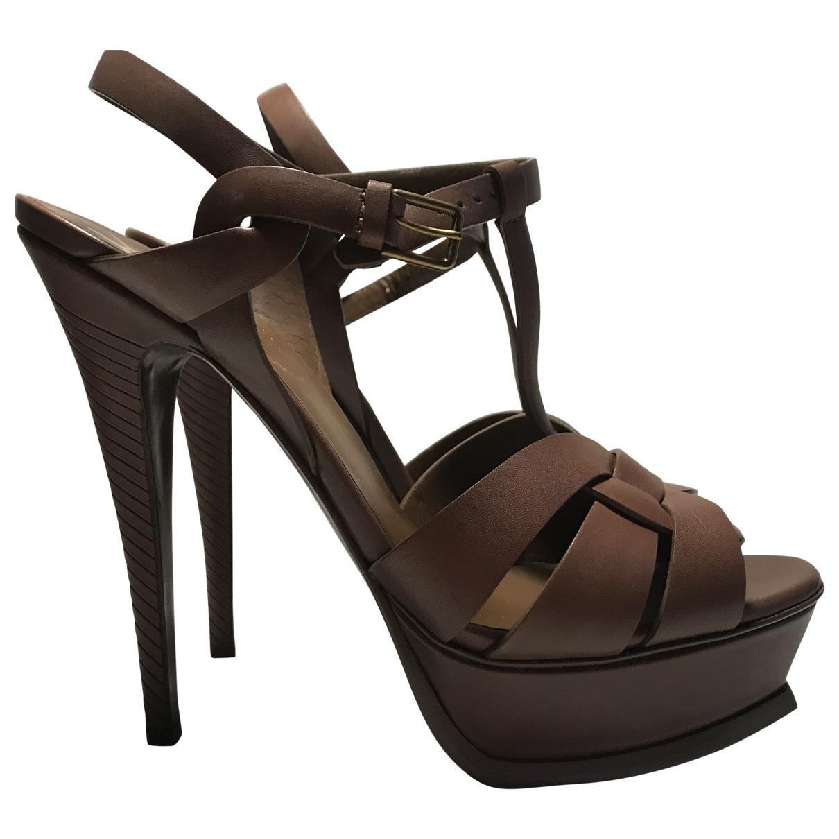 Yves Saint Laurent Tribute Brown Leather Sandals for Women 39 EU