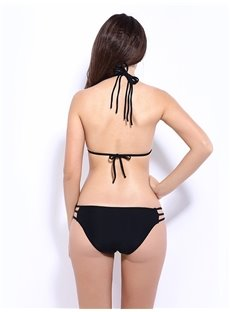 Two Piece Plaid Bandage Halter Bikini Set