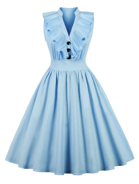 Milanoo Pink Vintage Dress V Neck Ruffles Buttons Cotton Swing Summer Dress