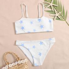 Gerippter Bikini Badeanzug mit Stern Muster