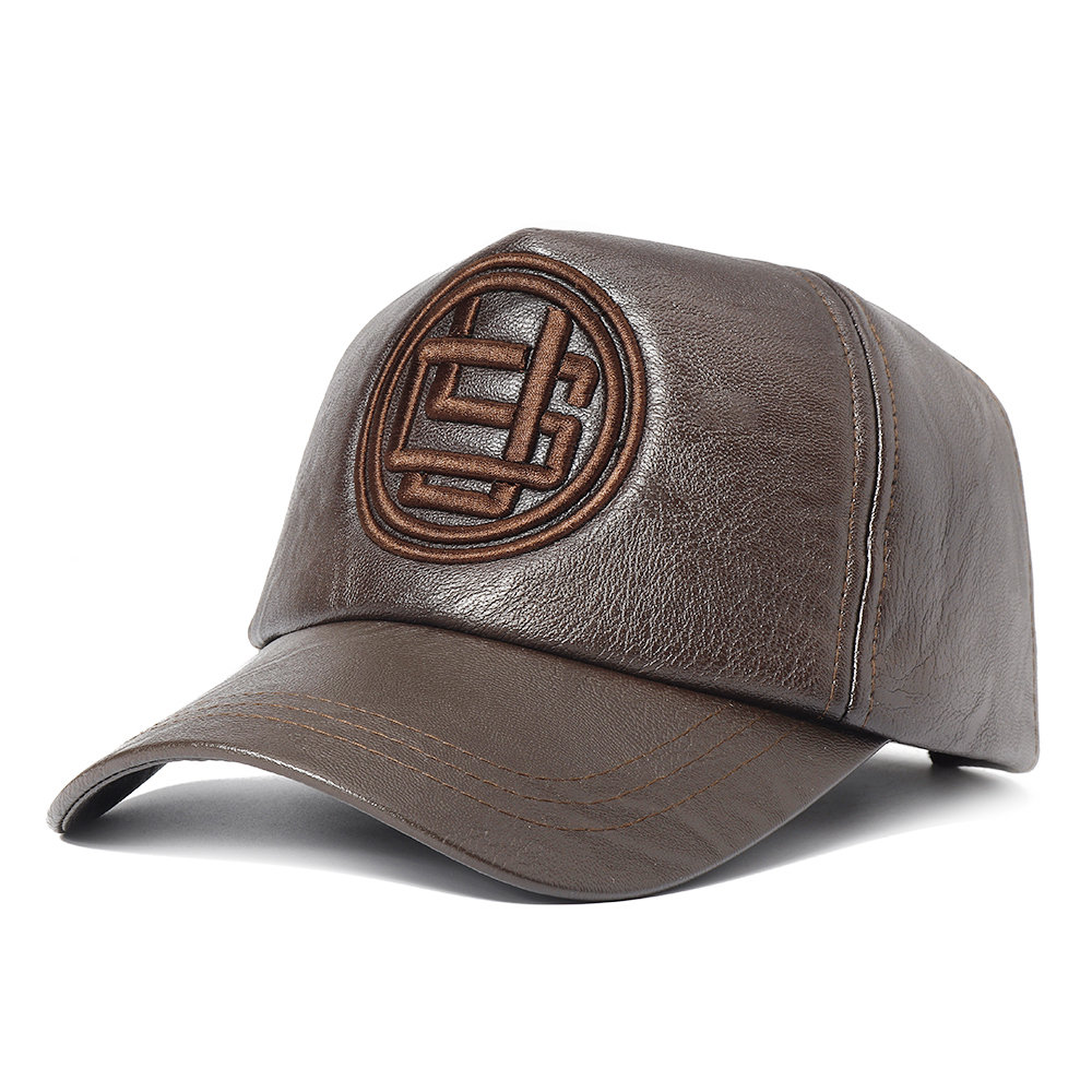 Men Embroidery Adjustable Baseball Cap PU Artificial Leather Dad Hat Warm Outdoor Sports Hat