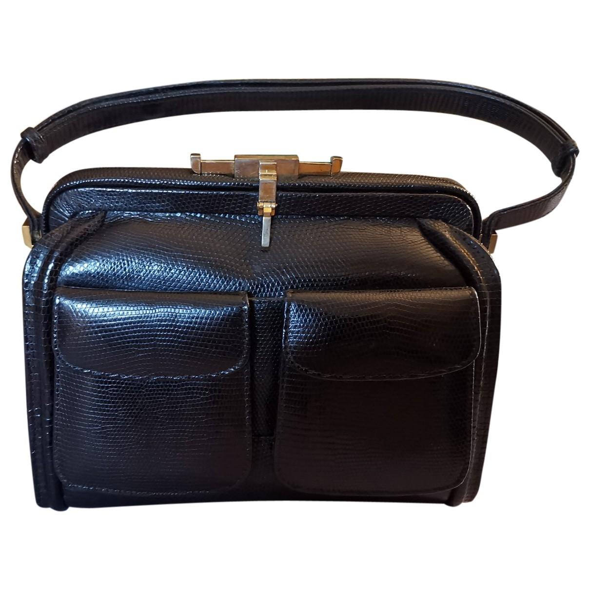 Vintage 55 \N Handtasche in  Schwarz Leder