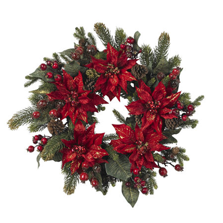 Nearly Natural 24in Indoor Christmas Wreath, One Size , Green