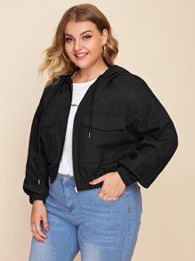 Plus Flap Pocket Zipper Up Drawstring Hooded Jacket