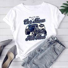 T-Shirt mit Auto & Buchstaben Grafik