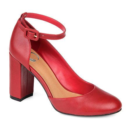 Journee Collection Womens Raveen Buckle Round Toe Block Heel Pumps, 6 Medium, Red