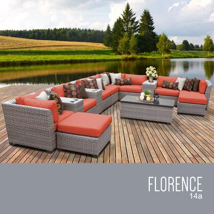 FLORENCE-14a-TANGERINE Florence 14 Piece Outdoor Wicker Patio Furniture Set 14a with 2 Covers: Grey and