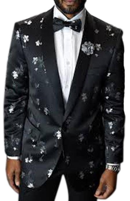 Men's 1 Button Shawl Lapel Black Single Breasted Floral Pattern Blazer
