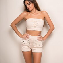 Lace Up Pocket Patch Suede Shorts
