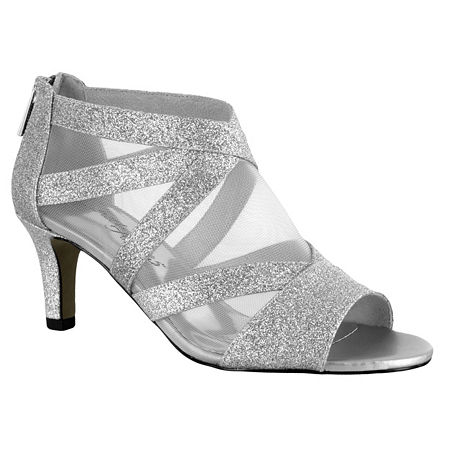 Easy Street Womens Dazzle Zip Open Toe Spike Pumps Heel, 12 Medium, Silver