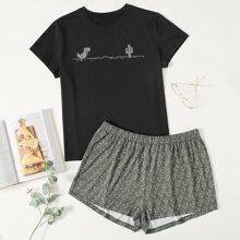 Schlafanzug Set mit Dinosaurier & Kaktus Muster