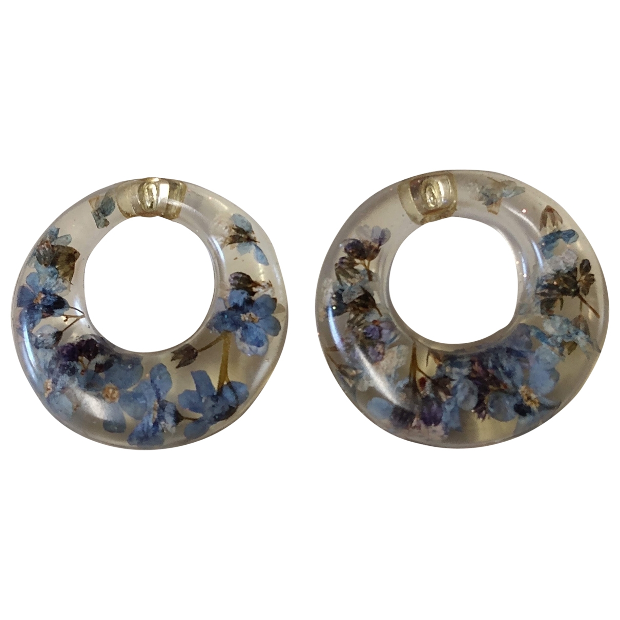 Non Signé / Unsigned Motifs Floraux Blue Earrings for Women \N