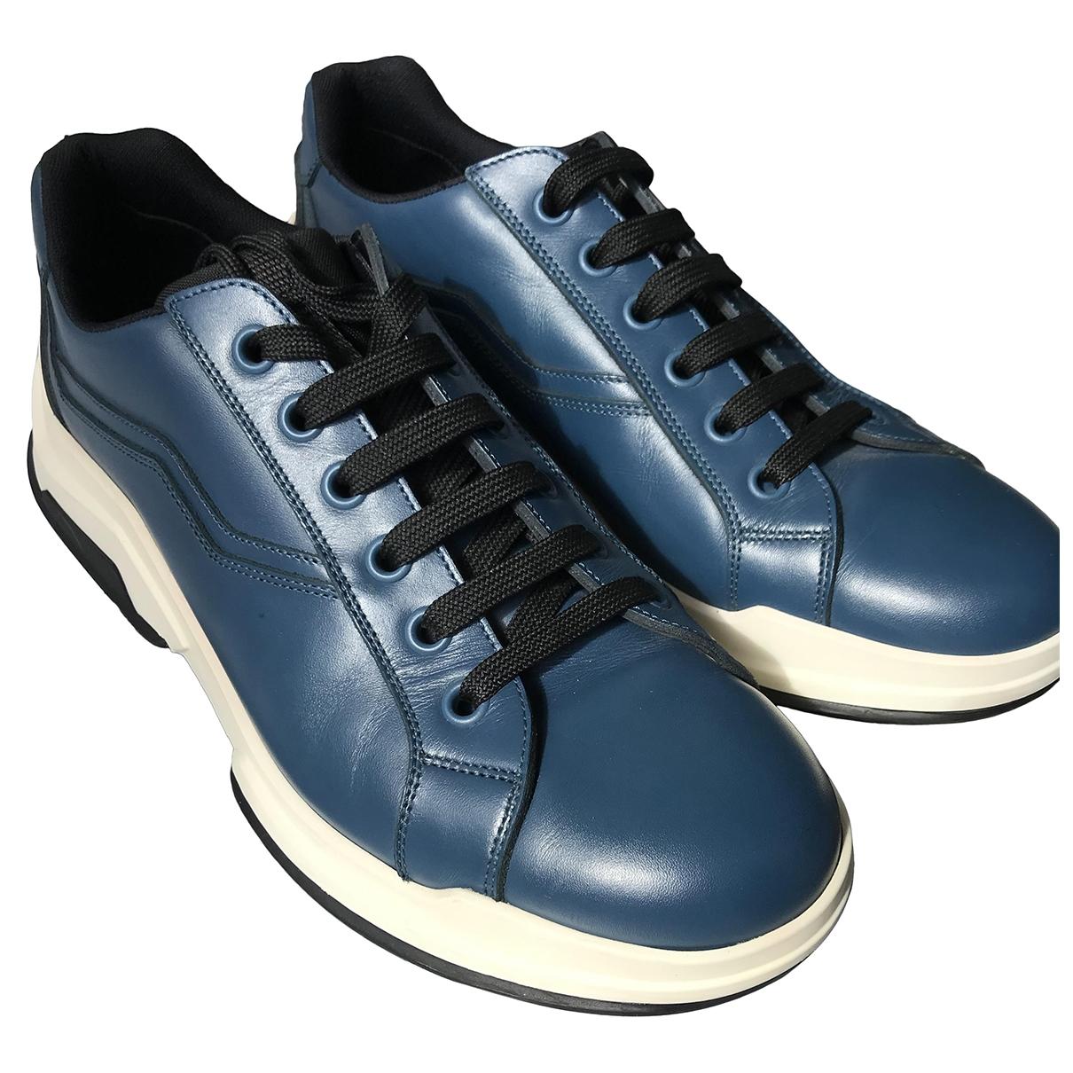 Prada - Baskets   pour homme en cuir - bleu