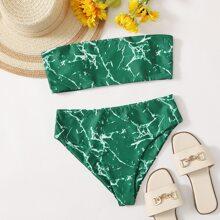Marble Bandeau Bikini Swimsuit