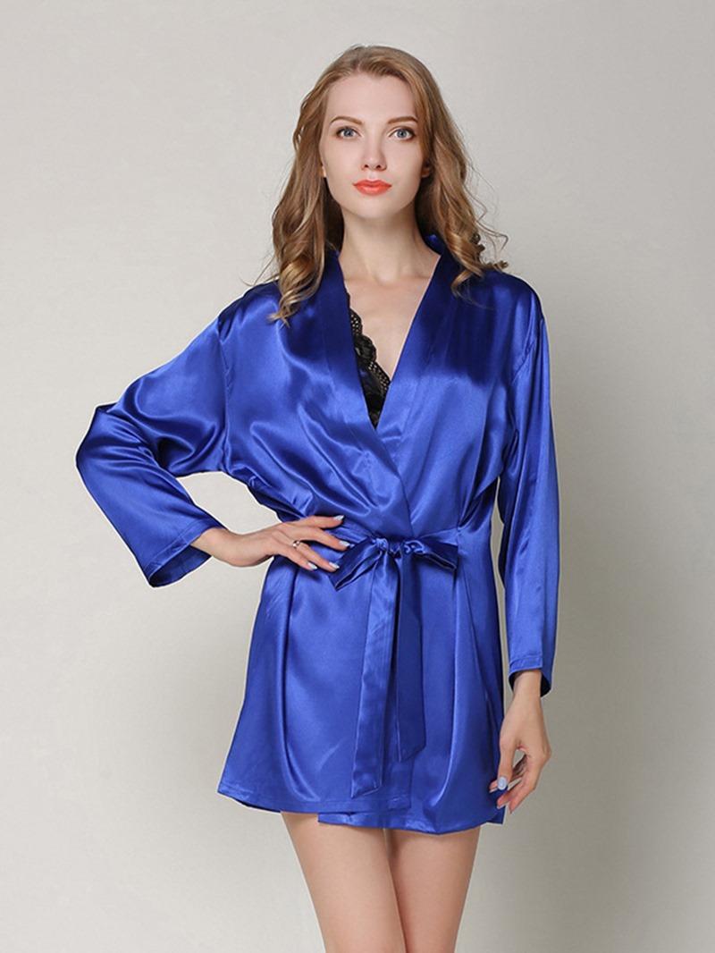 Ericdress Plain V-Neck Bowknot Robe Women's Pajama Set