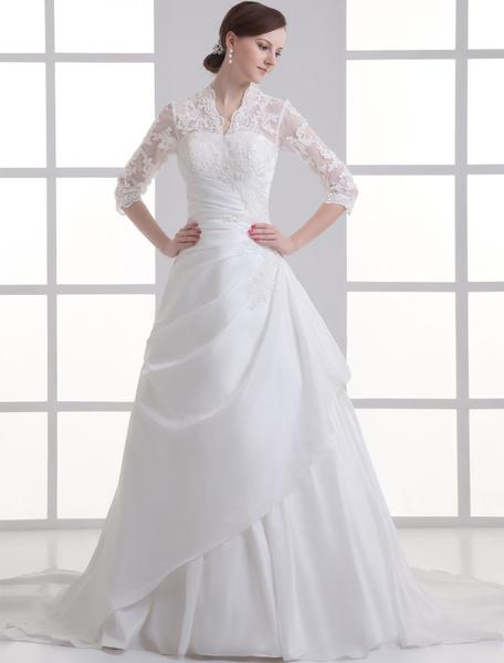 Milanoo Elegante vestido de novia marfil con encajes y cuello en V