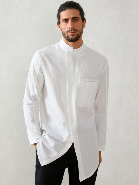 Yoins Men Casual Muslim Button Irregular Stand Collar Shirt