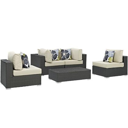 Sojourn Collection EEI-2378-CHC-BEI-SET 5-Piece Outdoor Patio Sunbrella Sectional Set with Coffee Table  2 Armless Chairs and 2 Corner Sections in